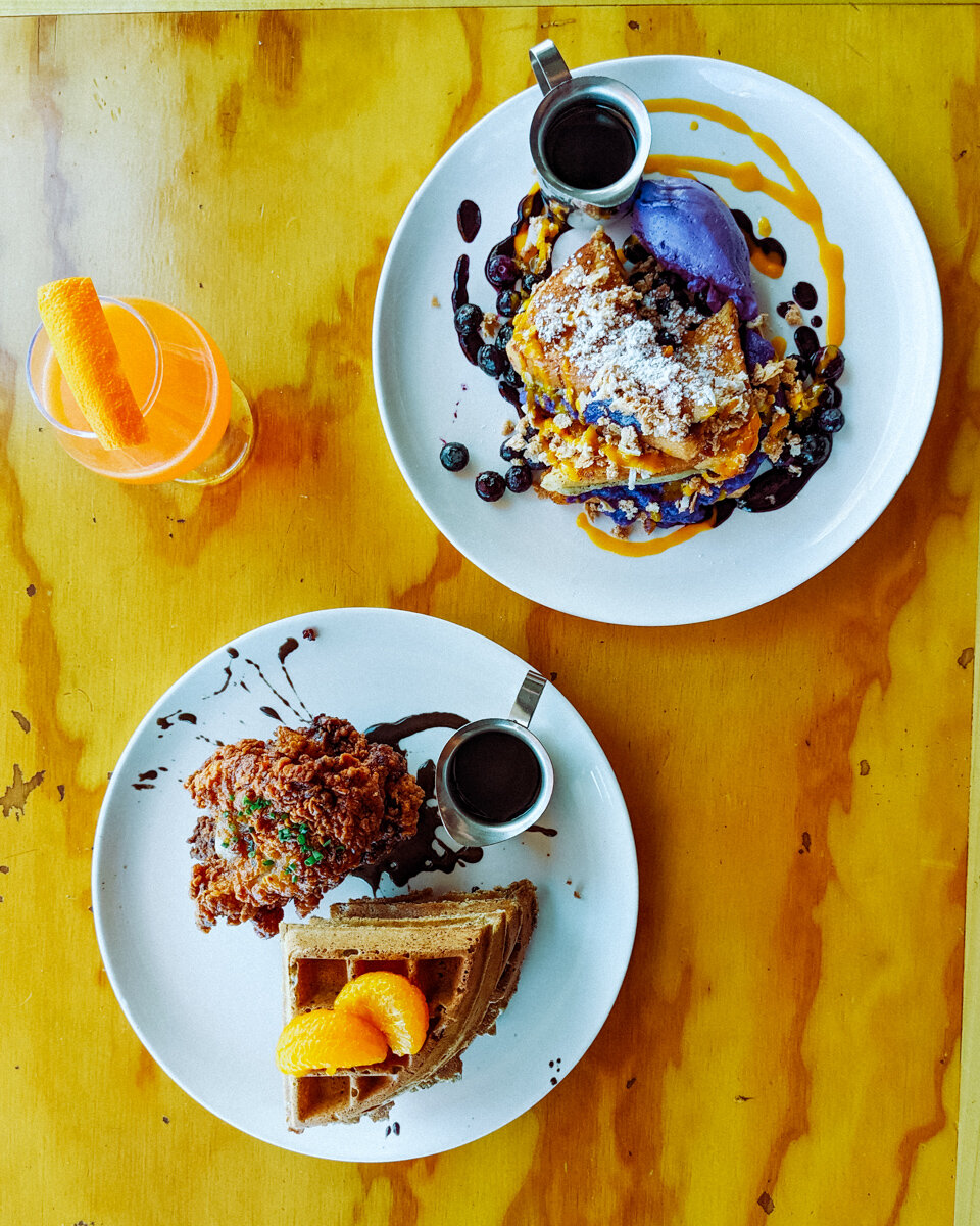Rachel Off Duty: Chicken and Waffles and Purple Ube French Toast with an Orange Mezcal Cocktail