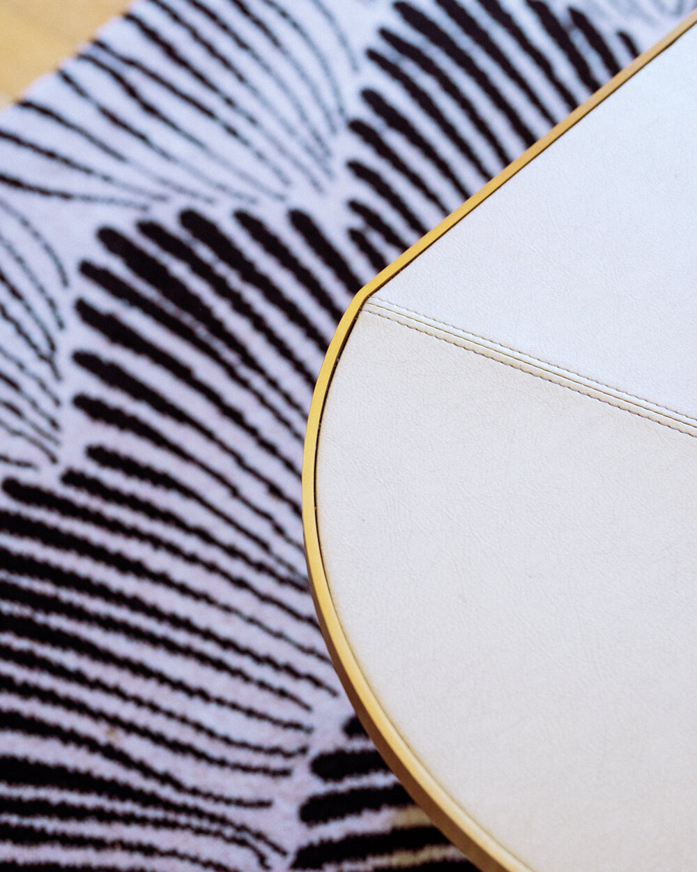 Rachel Off Duty: A Close-Up of a White and Black Rug