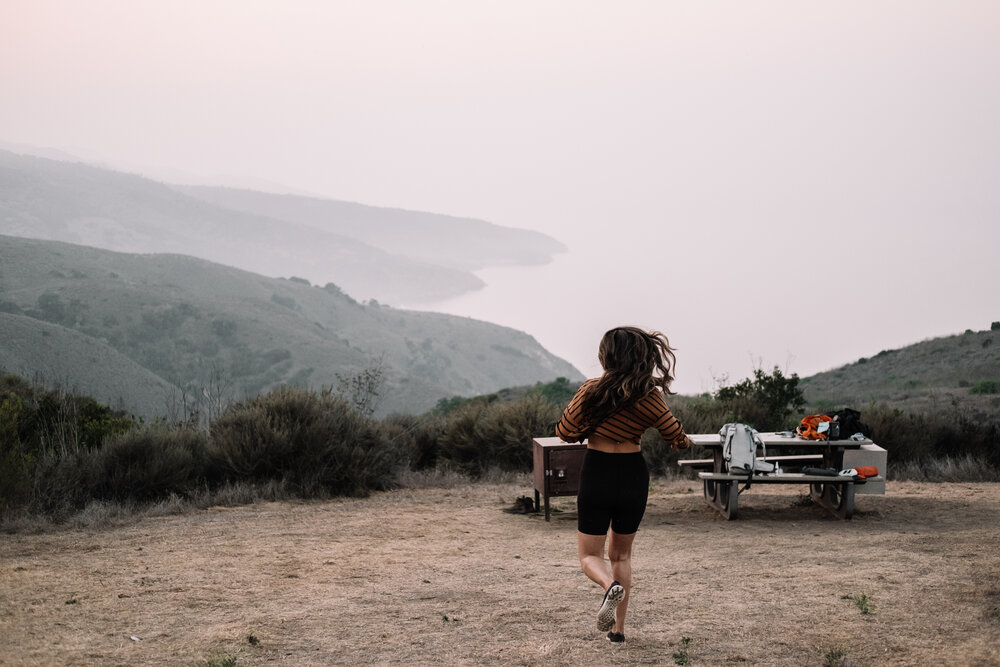 Rachel Off Duty: Woman Running to Campsite in Channel Islands National Park