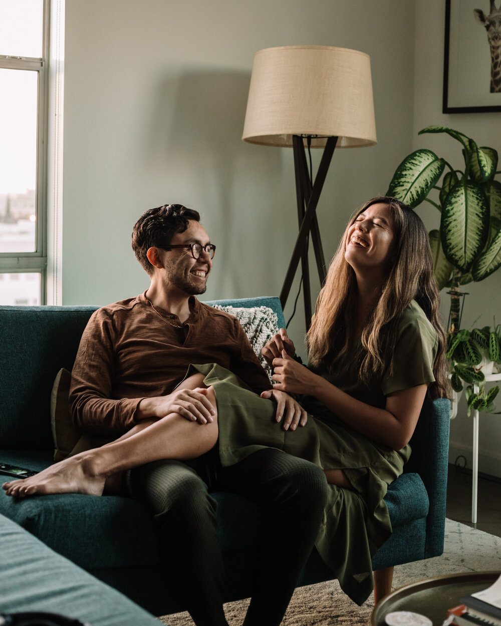 Rachel Off Duty: Man and Woman Talking and Sitting on a Couch