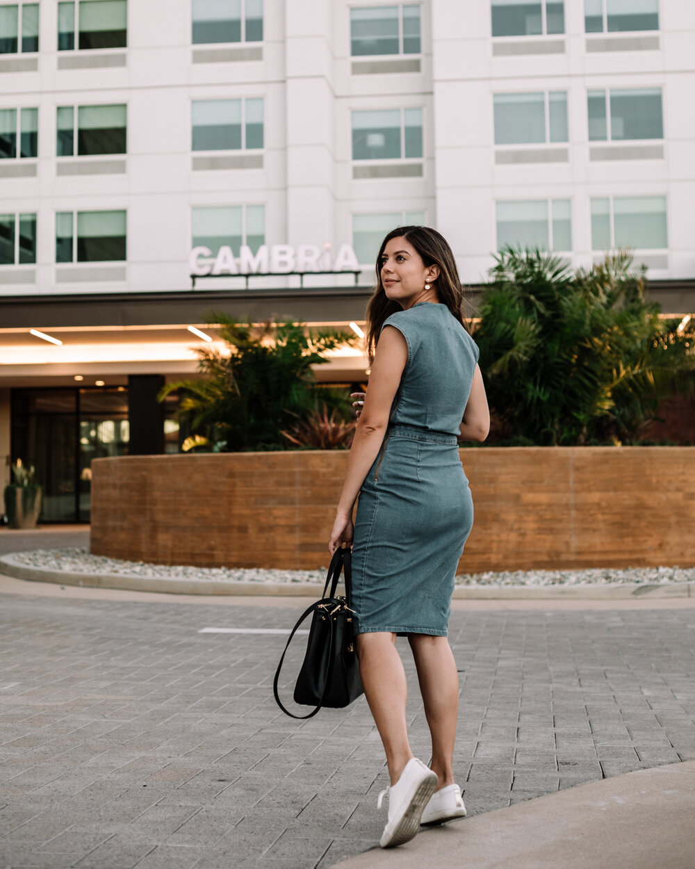 Rachel Off Duty: Woman in Blue Dress at Cambria Hotel in Anaheim