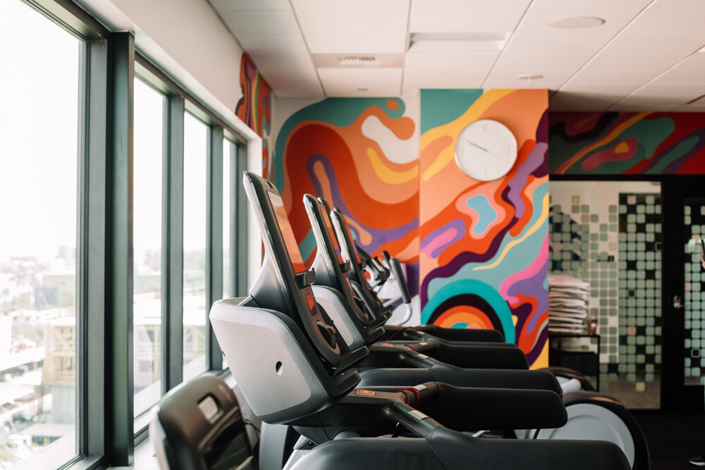 Rachel Off Duty: A Hotel Gym with Colorful Walls