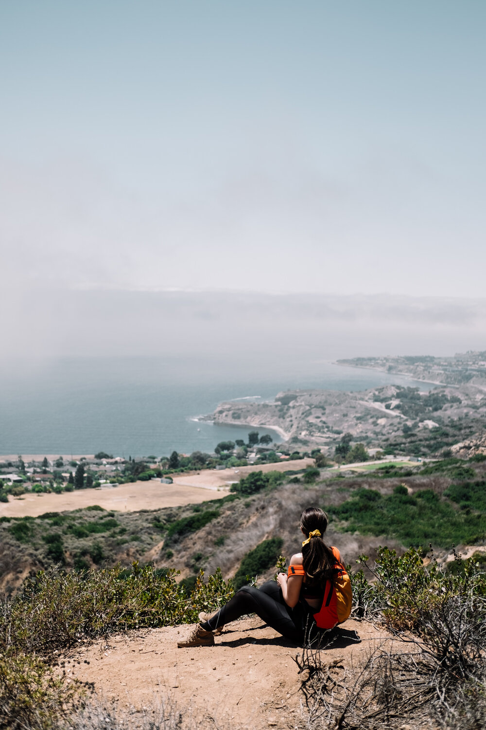 Rachel Off Duty: Woman Sitting at a Viewpoint on a Hike in Palos Verdes, California
