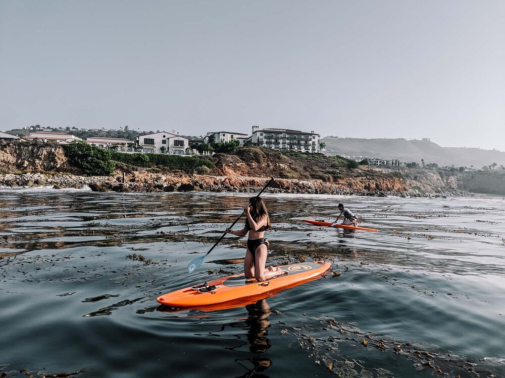 Rachel Off Duty: Two People Paddleboarding Over a Kelp Forest in Palos Verdes, California
