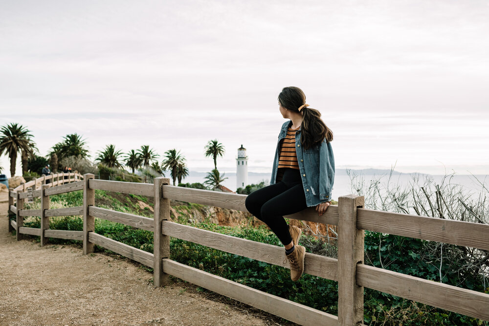 Rachel Off Duty: Woman in Front of Point Vicente Lighthouse in Palos Verdes, California