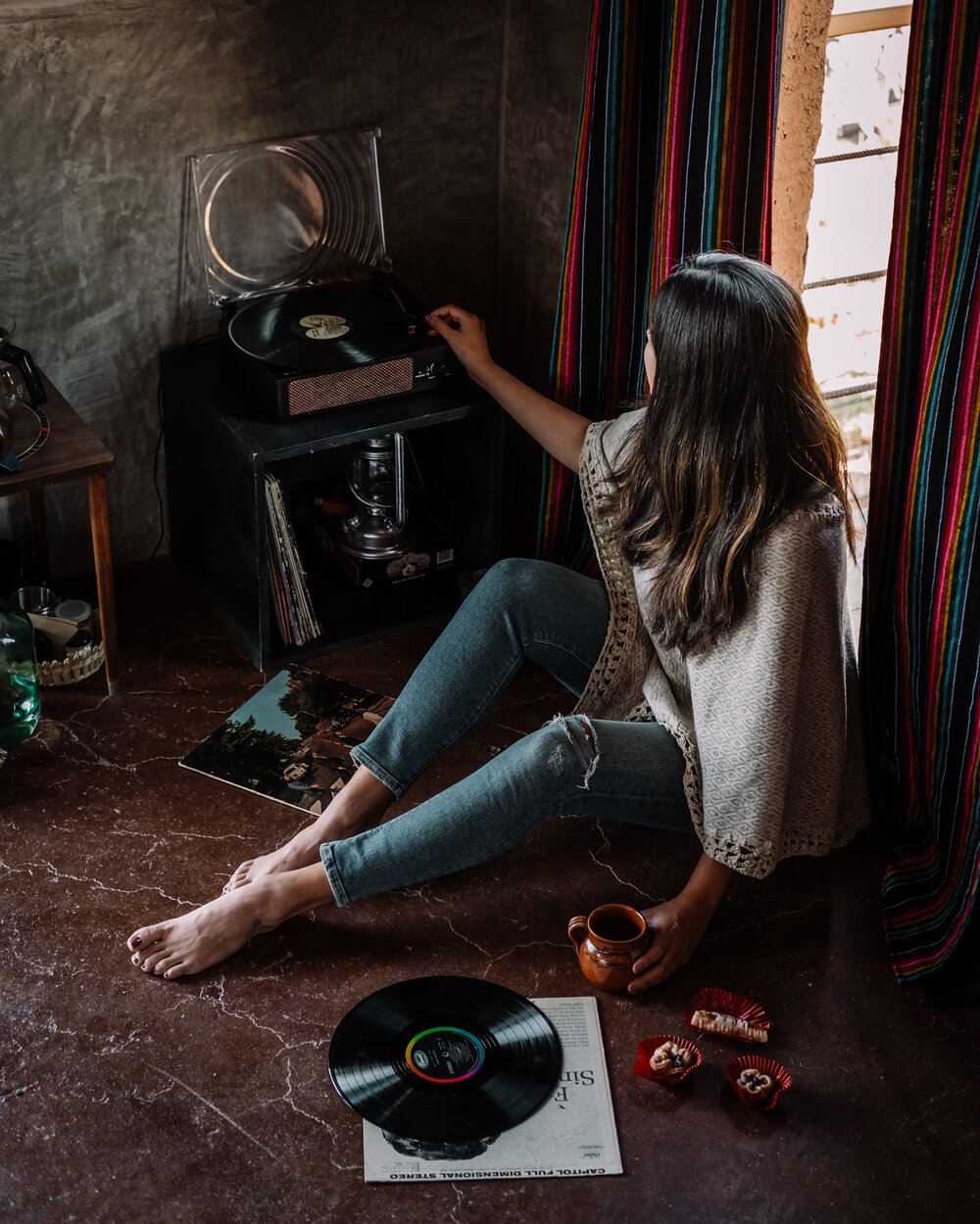 Rachel Off Duty: Woman Listening to Music in The UvaUva Eco Cabins