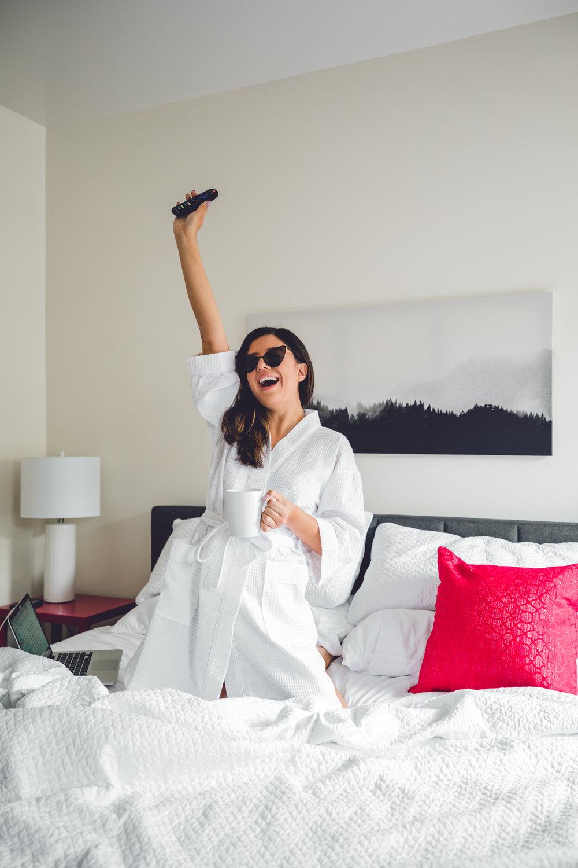 Rachel Off Duty: Woman in a Hotel Room
