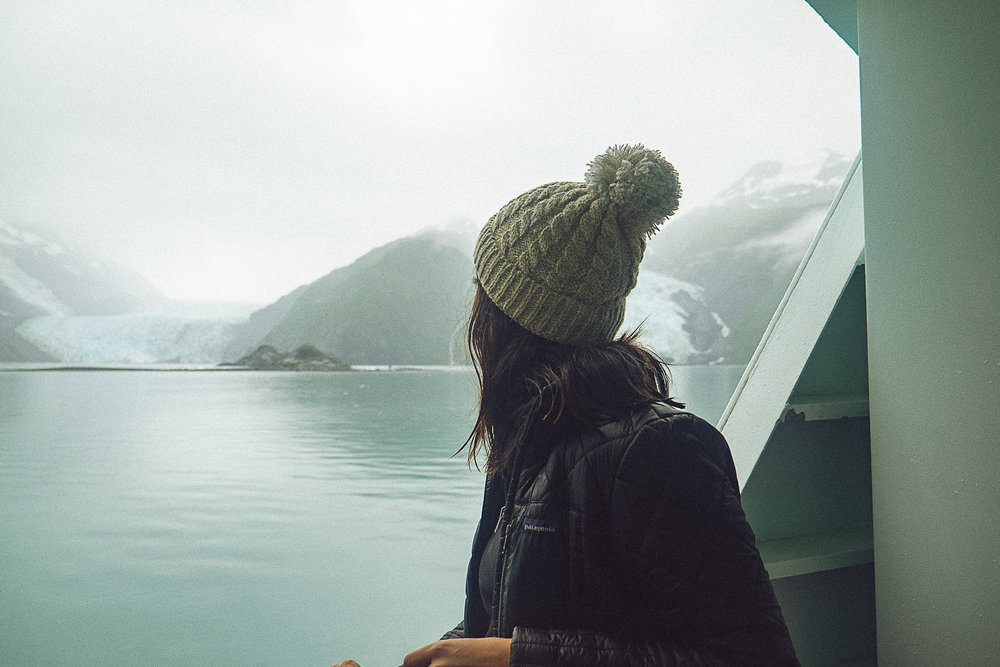 Rachel Off Duty: Woman Looking Out at Spencer Glacier