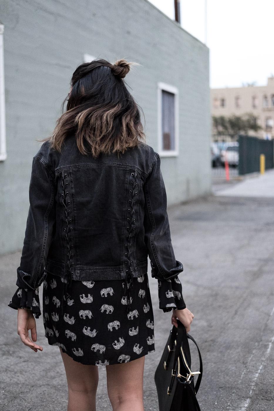Rachel Off Duty: Back of Woman's Head Wearing Black Jacket
