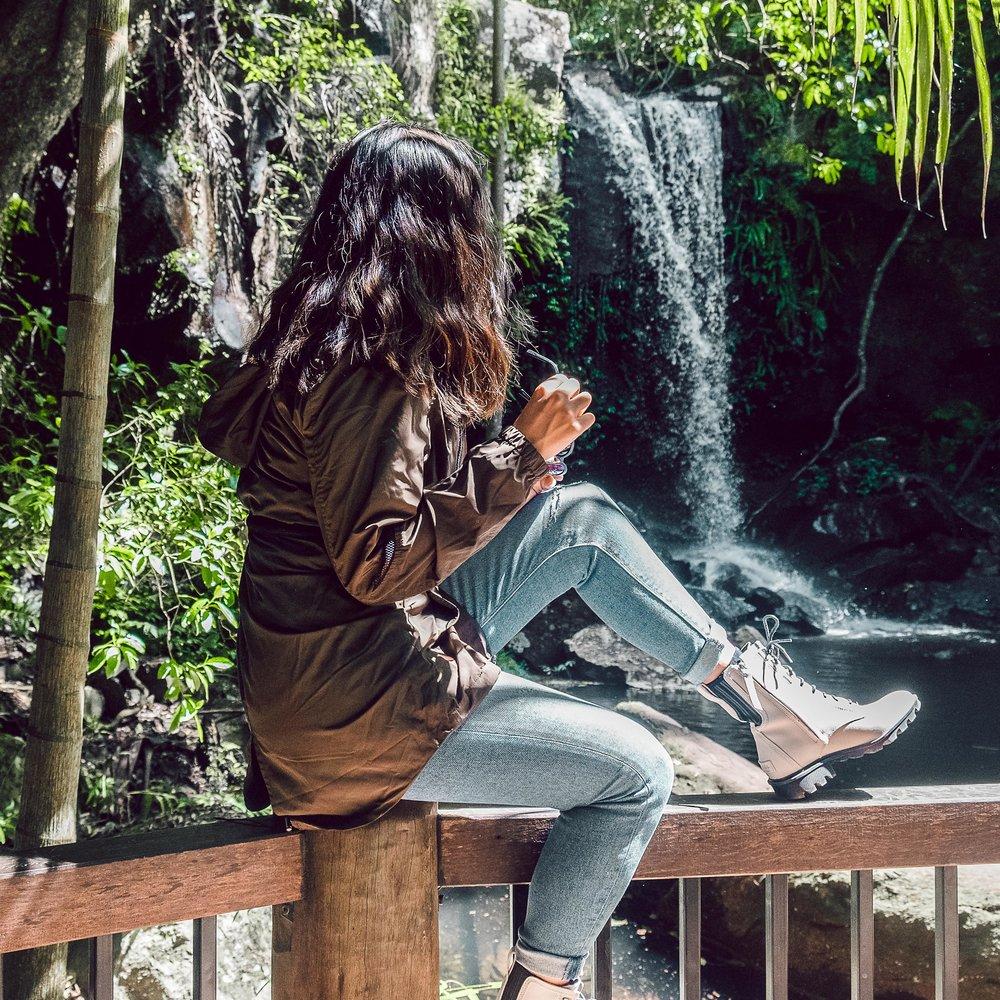 Rachel Off Duty: Woman by a Waterfall