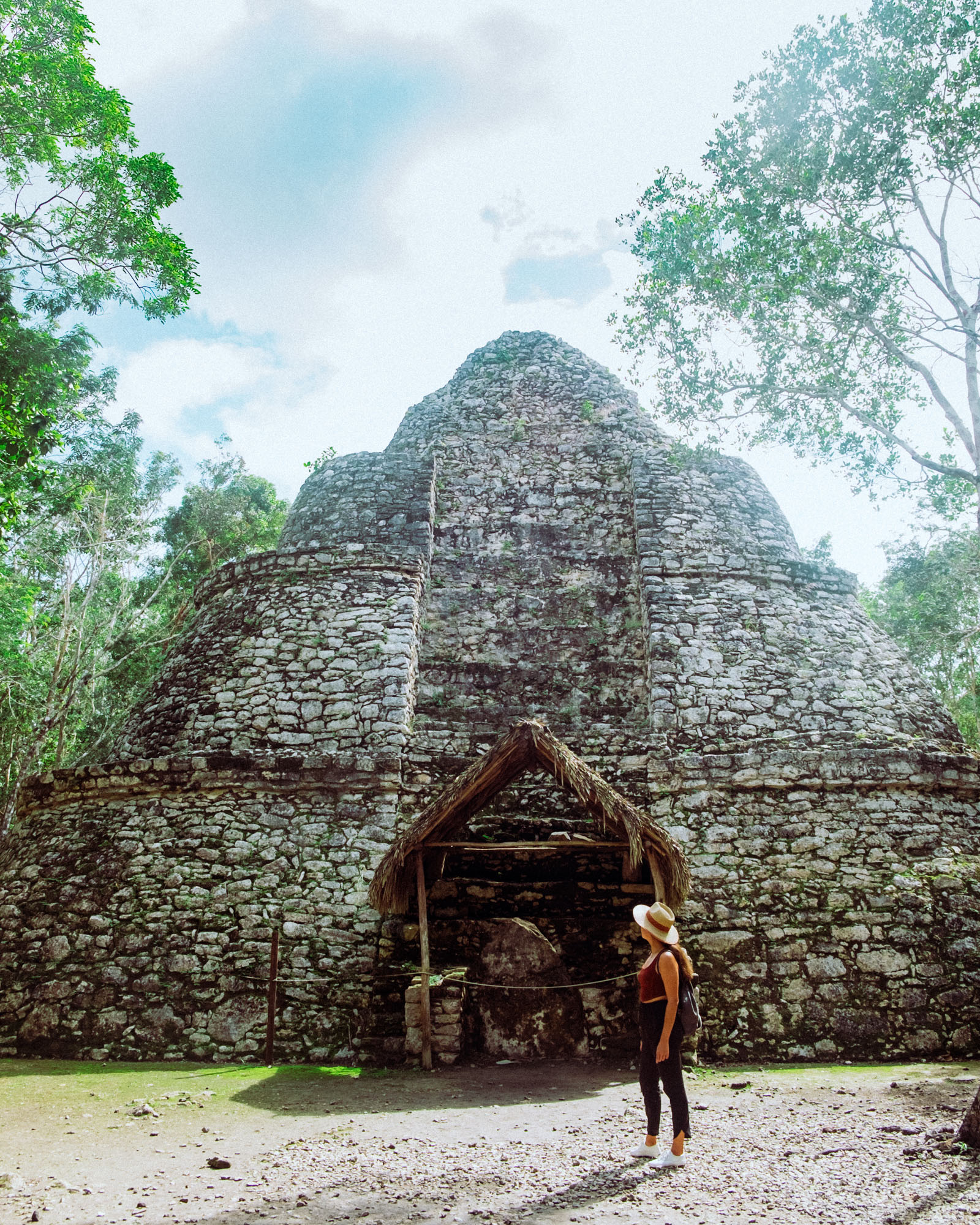 Rachel Off Duty: A Woman Standing in Front of the Ruins at Coba, Mexico