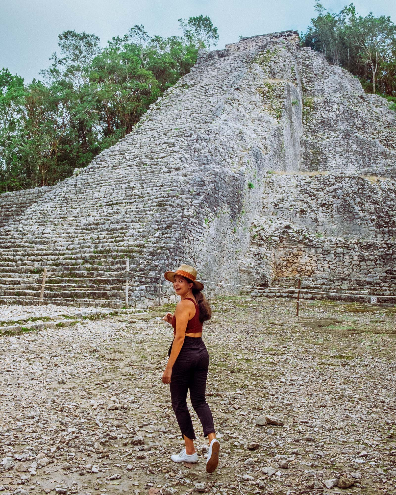 Rachel Off Duty: Woman Posing in front of Coba Ruins, Mexico