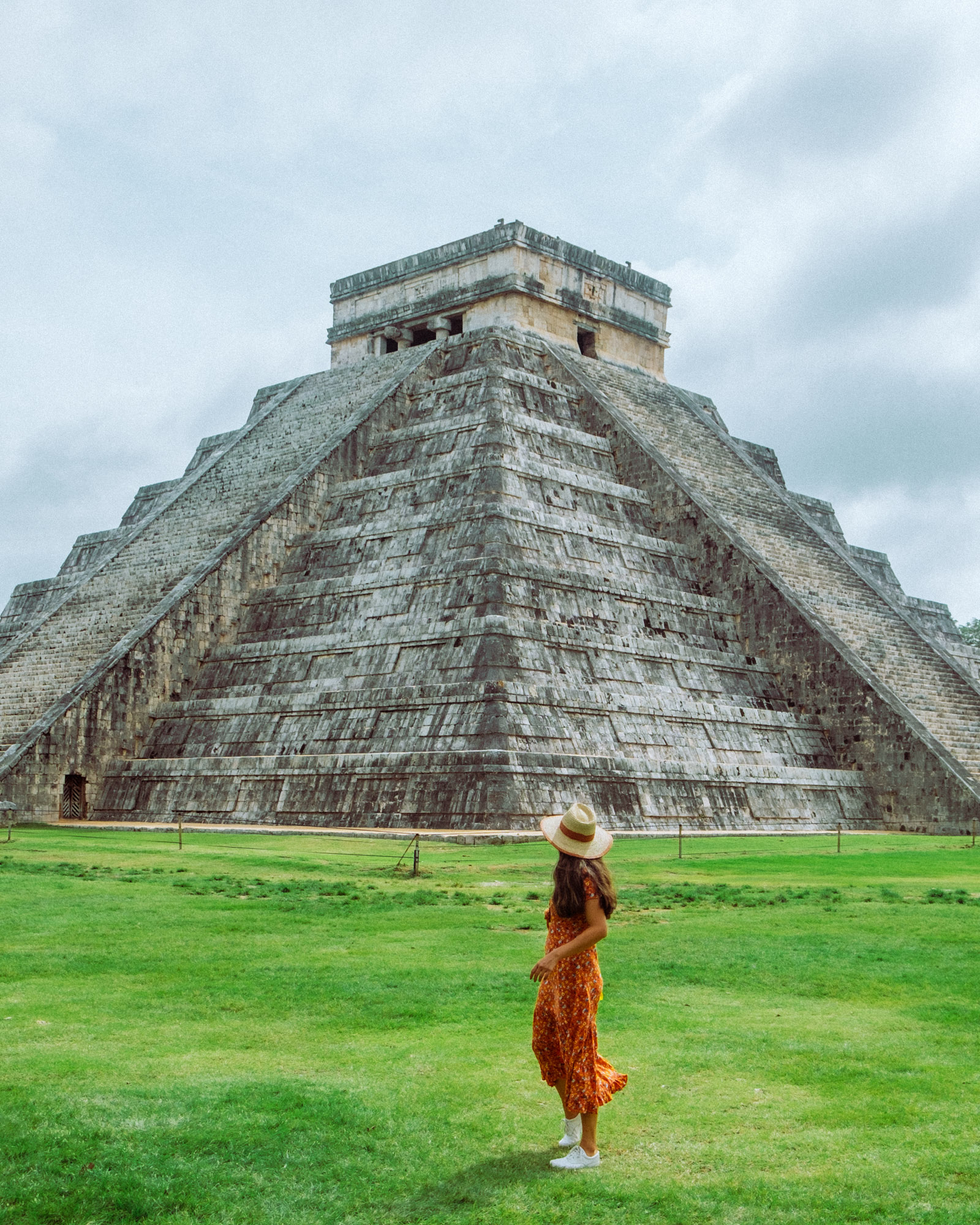 Rachel Off Duty: Woman Poses in Front of the Kukulkan Pyramid at Chichen-Itza, Mexico