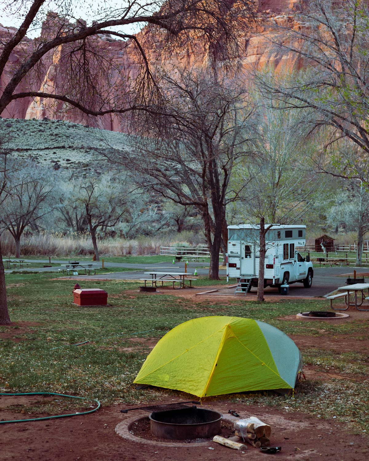 Rachel Off Duty: A Yellow Tent in Fruita Campground, Capitol Reef National Park