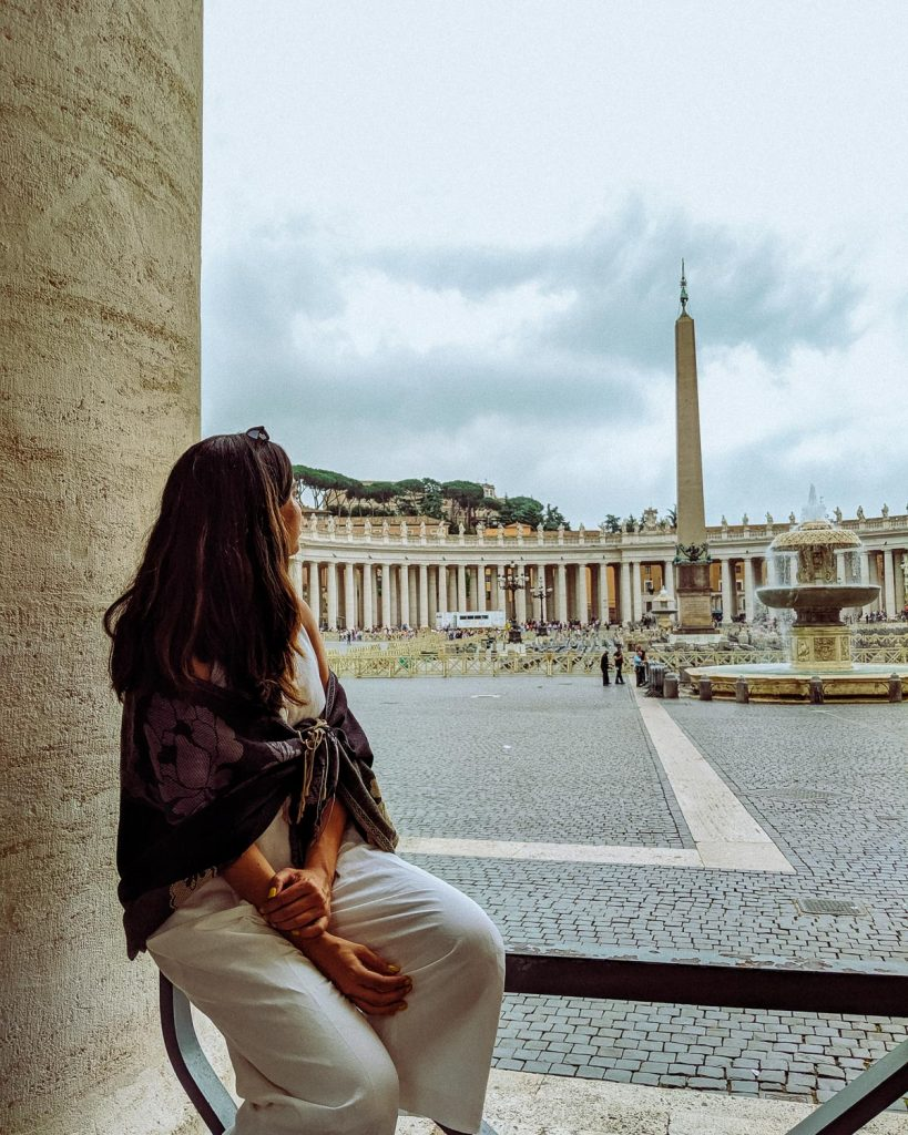 Rachel Off Duty: A Woman Admires the Architecture in Rome, Italy